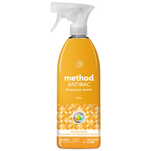 Method® Antibacterial Spray, Citron Scent, 28 oz Plastic Bottle, 8/Carton