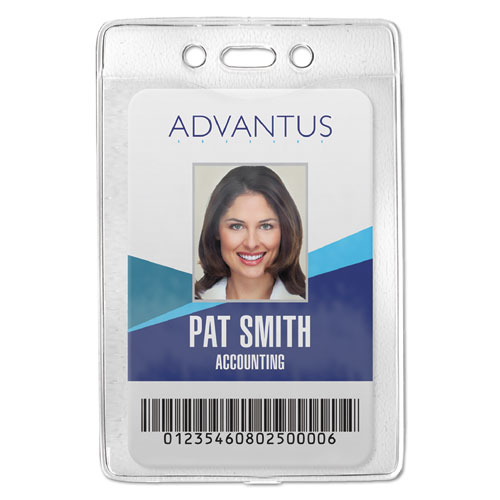 Security ID Badge Holder, Vertical, 3 3/8w x 4 1/4h, Clear, 50/Box | by Plexsupply