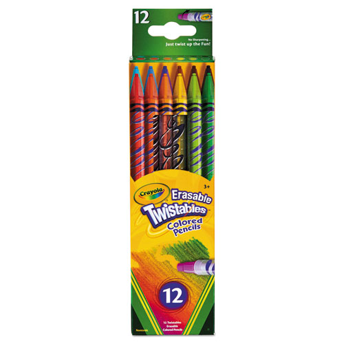 Twistables Erasable Colored Pencils, 2 mm, 2B (#1), Assorted Lead/Barrel Colors, Dozen | by Plexsupply