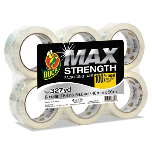 MAX Packaging Tape, 3 Core, 1.88 x 54.6 yds, Crystal Clear, 6/Pack