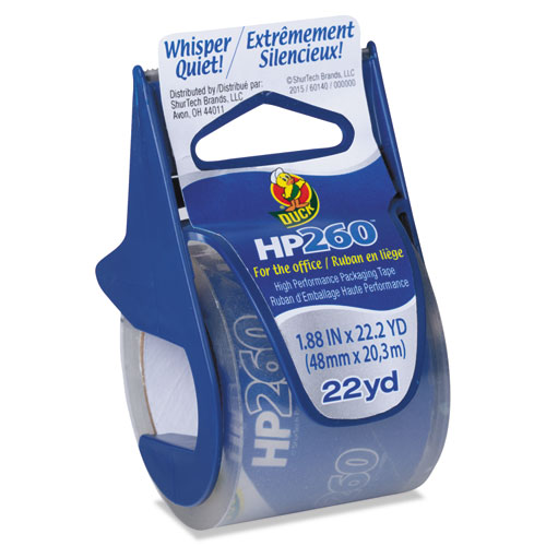 "HP260 Packaging Tape with Dispenser, 1.5"" Core, 1.88"" x 22.2 yds, Clear, 6/Pack 