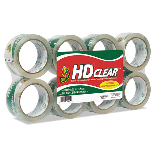 "Heavy-Duty Carton Packaging Tape, 3"" Core, 1.88"" x 55 yds, Clear, 8/Pack | by Plexsupply"