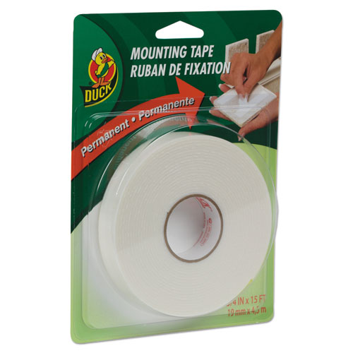 """Permanent Foam Mounting Tape, 3/4"""" x 15ft, White 
