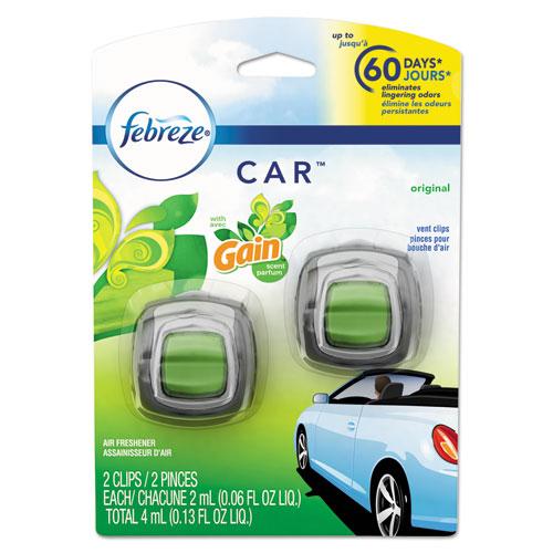 CAR Air Freshener, Gain Original, 2 ml Clip, 2/Pack, 8 Packs/Carton