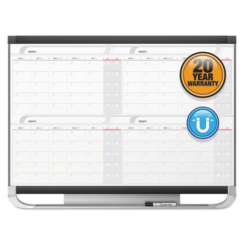 Prestige 2 Magnetic Total Erase 4-Month Calendar, 48 x 36, Graphite Color Frame   by Plexsupply