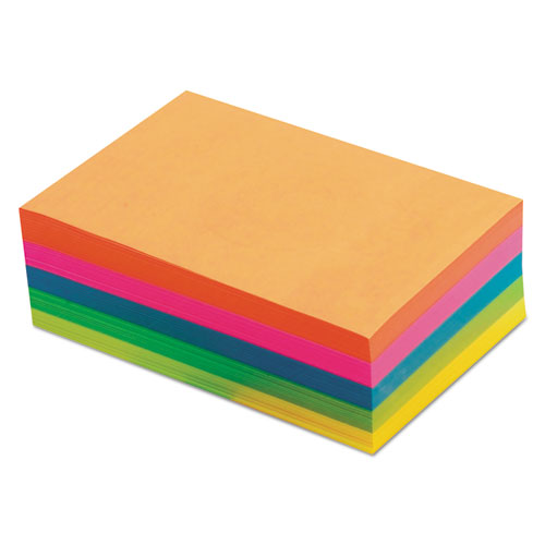 Fluorescent Color Memo Sheets, 4 x 6, Unruled, Assorted Colors, 500/Pack