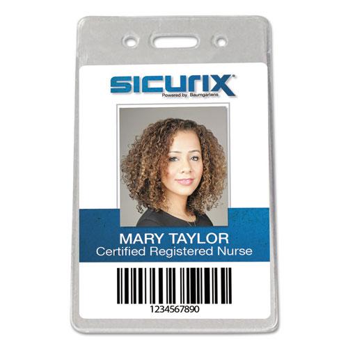 Sicurix Proximity Badge Holder, Vertical, 2 1/2w x 4 1/2h, Clear, 50/Pack