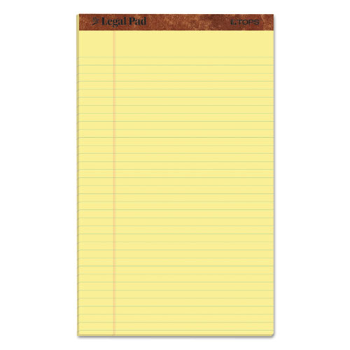 """""""The Legal Pad"""" Perforated Pads, Wide/Legal Rule, 8.5 x 14, Canary, 50 Sheets, Dozen TOP7572"""