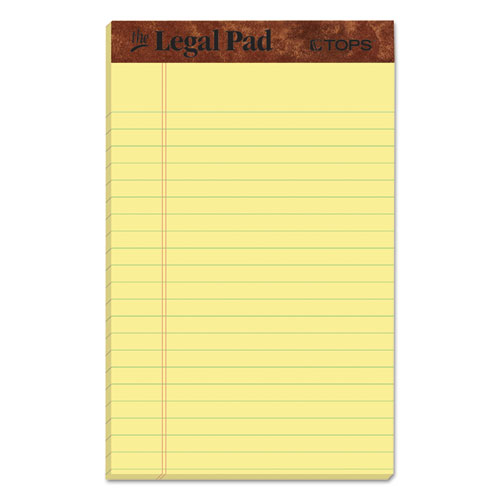 """The Legal Pad"" Perforated Pads, Narrow Rule, 5 x 8, Canary, 50 Sheets, Dozen 