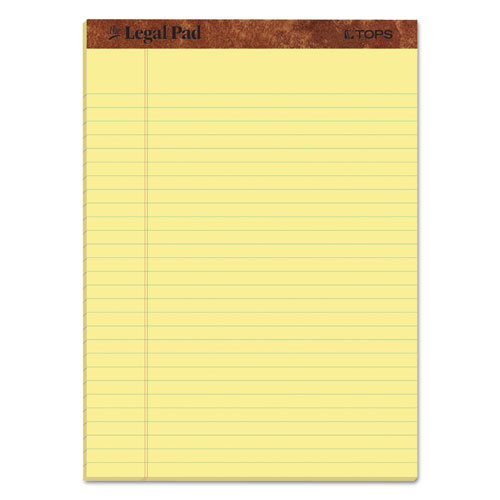 """The Legal Pad"" Ruled Pads, Wide/Legal Rule, 8.5 x 11.75, Canary, 50 Sheets, Dozen 