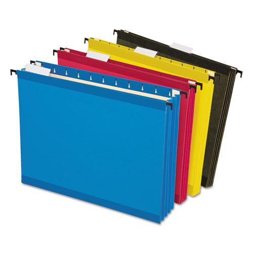 SureHook Hanging Pocket File, Letter Size, 1/5-Cut Tab, Assorted, 4/Pack