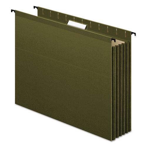SureHook Hanging Pocket File, Letter Size, 1/5-Cut Tab, Standard Green, 4/Pack