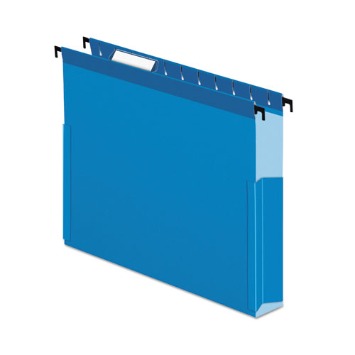 SureHook Reinforced Extra-Capacity Hanging Box File, Letter Size, 1/5-Cut Tab, Blue, 25/Box | by Plexsupply
