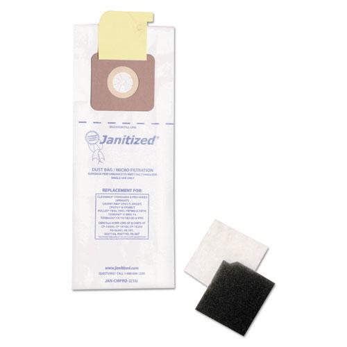 Vacuum Filter Bags Designed to Fit Carpet Pro/CleanMax/Fuller/Tennant, 100/CT