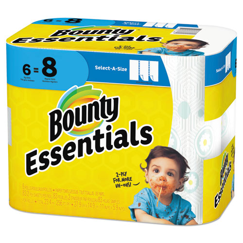 Essentials Select-A-Size Paper Towels, 2-Ply, 83 Sheets/Roll, 6 Rolls/Carton