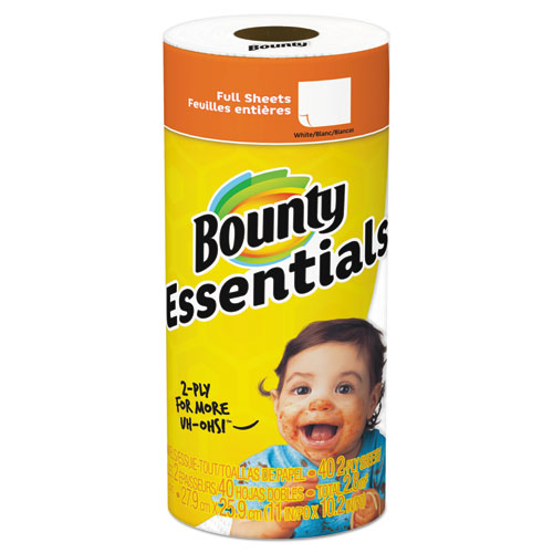 "Bounty® Essentials Paper Towels, 2-Ply, White, 10.2"" x 11"", 40 Sheets/Roll"