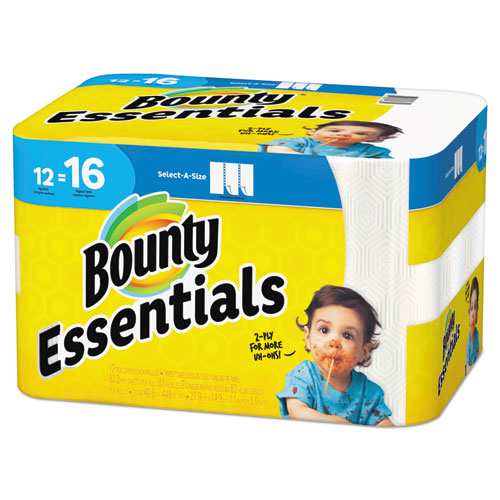 Essentials Select-A-Size Paper Towels, 2-Ply, 83 Sheets/Roll, 12 Rolls/Carton