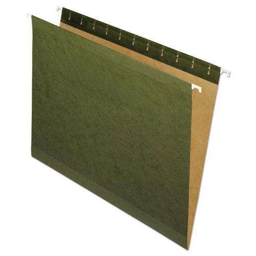 Reinforced Hanging File Folders, Letter Size, Straight Tab, Standard Green, 25/Box