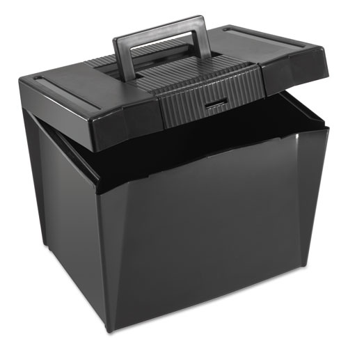 "Portable Letter Size File Box, Letter Files, 13.5"" x 10.25"" x 10.88"", Black 