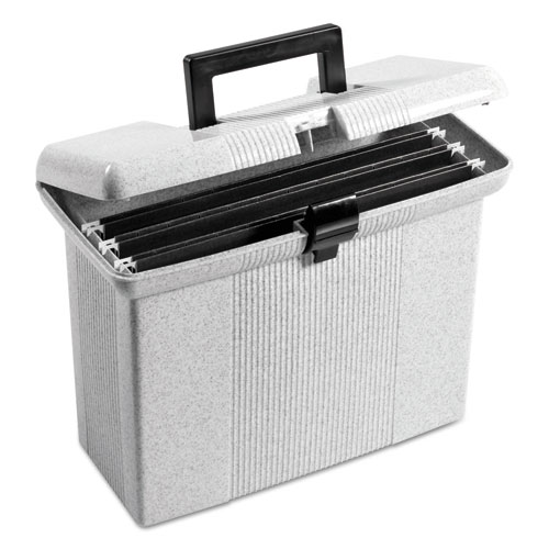 "Portable File Boxes, Letter Files, 14.88"" x 6.5"" x 11.88"", Granite 
