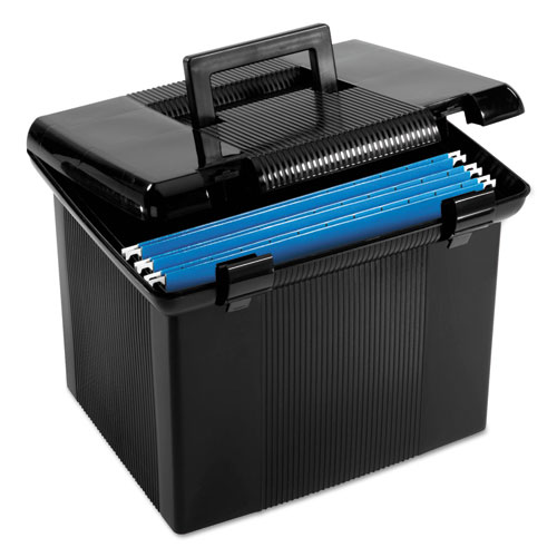 "Portable File Boxes, Letter Files, 13.88"" x 14"" x 11.13"", Black 