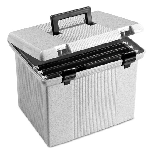 "Portable File Boxes, Letter Files, 13.88"" x 14"" x 11.13"", Granite 
