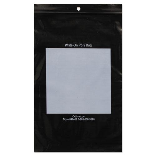 Write-On Poly Bags, 2 mil, 6 x 9, Black, 1,000/Box