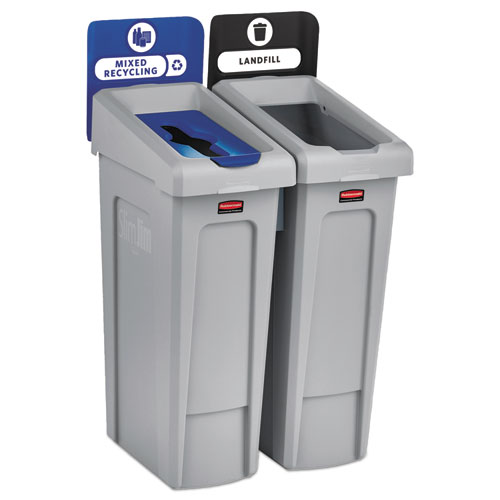 Rubbermaid® Commercial Slim Jim Recycling Station Kit, 46 gal, 2-Stream Landfill/Mixed Recycling