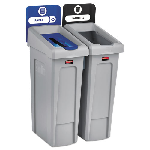 Rubbermaid® Commercial Slim Jim Recycling Station Kit, 46 gal, 2-Stream Landfill/Paper