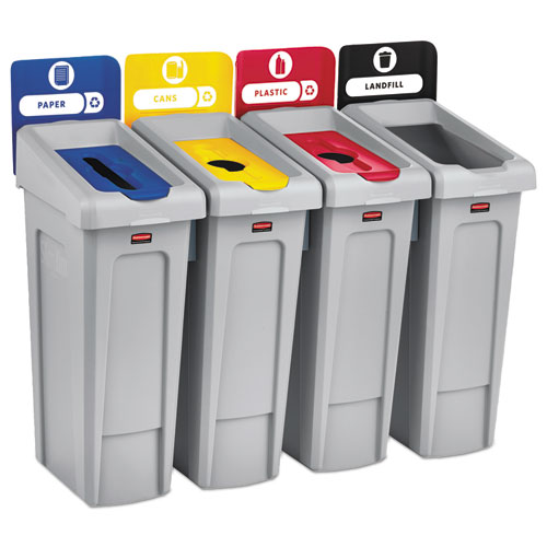Rubbermaid® Commercial Slim Jim Recycling Station Kit, 92 gal, 4-Stream Landfill/Paper/Plastic/Cans