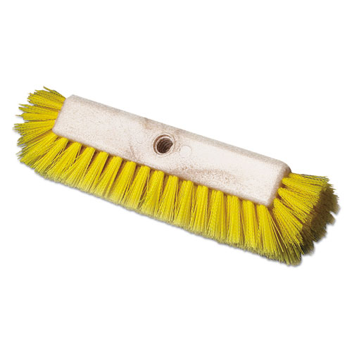Dual-Surface Scrub Brush, Plastic Fill, 10 Long, Yellow