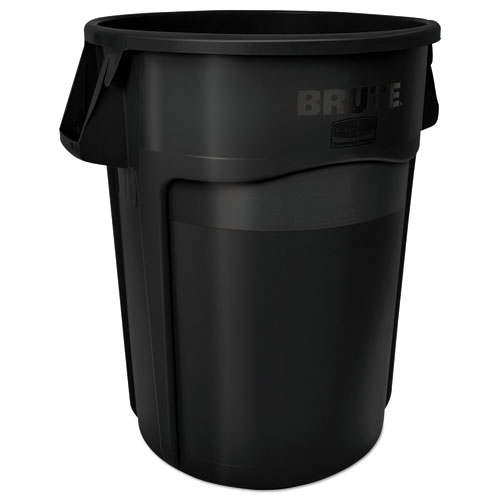 Rubbermaid® Commercial Vented Round Brute Container, 55 gal, Black