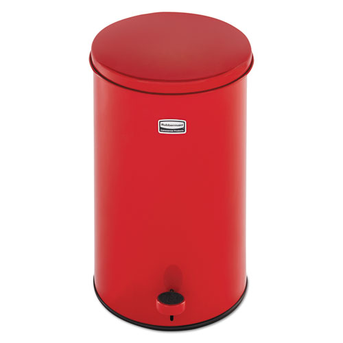 "Rubbermaid® Commercial Defenders Round Waste Receptacle, 3.5 gal, 11"" Dia. x 17""h, Red"