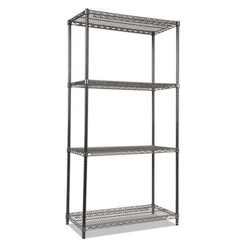 Wire Shelving Starter Kit, Four-Shelf, 36w x 18d x 72h, Black Anthracite