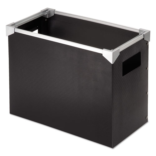 "Poly Desktop File Box, Letter Files, 13"" x 6.25"" x 9.5"", Black/Silver 