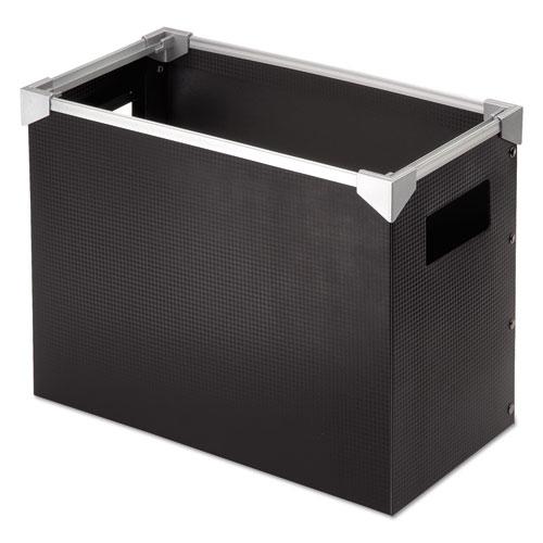 Poly Desktop Storage Box, Letter Size, Black