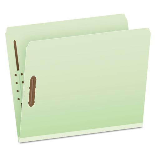 Heavy-Duty Pressboard Folders w/ Embossed Fasteners, Letter Size, Green, 25/Box | by Plexsupply