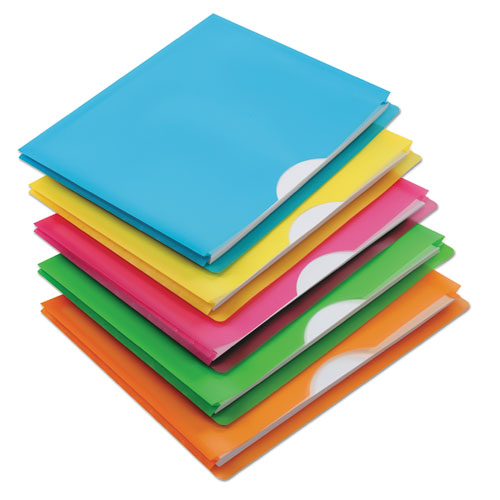 Glow Poly File Jacket, Straight Tab, Letter Size, Assorted Colors, 5/Pack | by Plexsupply