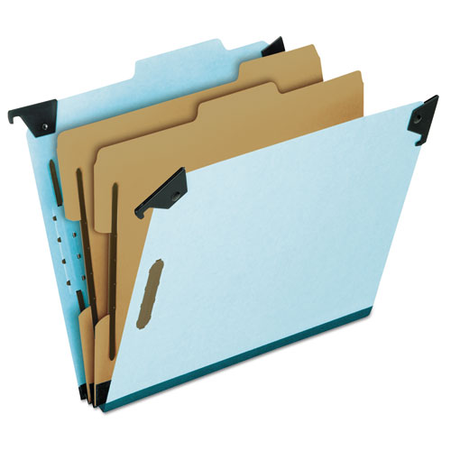 Hanging Classification Folders with Dividers, Letter Size, 2 Dividers, 2/5-Cut Tab, Blue | by Plexsupply