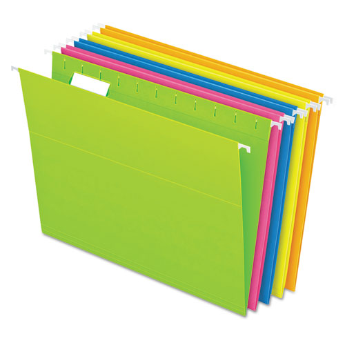Glow Hanging File Folders, Letter Size, 1/5-Cut Tab, Assorted, 25/Box | by Plexsupply