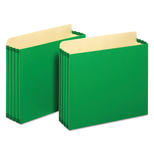 "File Cabinet Pockets, 3.5"" Expansion, Letter Size, Green, 10/Box 