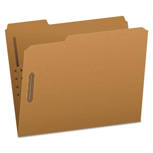 Kraft Folders with Two Fasteners, 1/3-Cut Tabs, Letter Size, Kraft, 50/Box | by Plexsupply