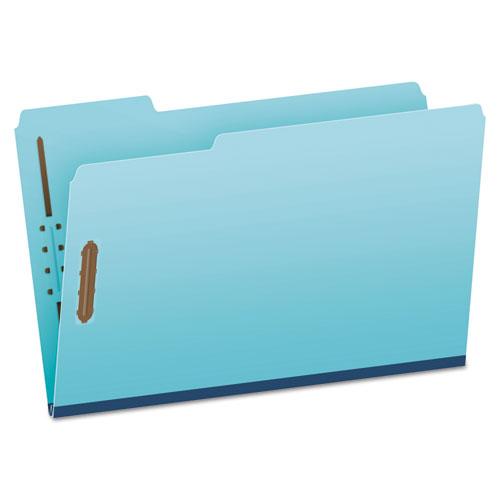 Heavy-Duty Pressboard Folders w/ Embossed Fasteners, Legal Size, Blue, 25/Box | by Plexsupply
