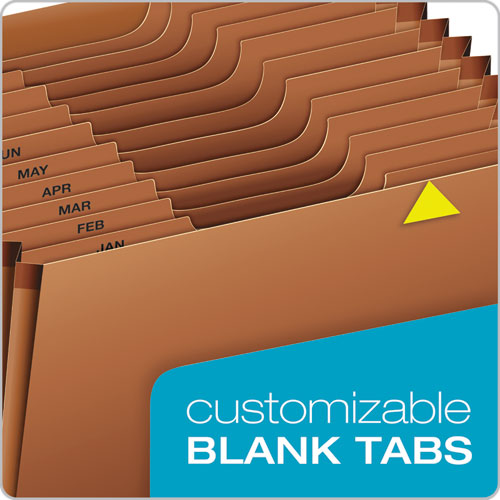 Heavy-Duty Expanding File, 12 Sections, 1/3-Cut Tab, Letter Size, Redrope
