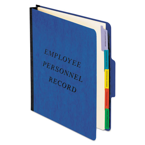 Vertical Style Personnel Folders, 1/3-Cut Tabs, Center Position, Letter Size, Blue   by Plexsupply