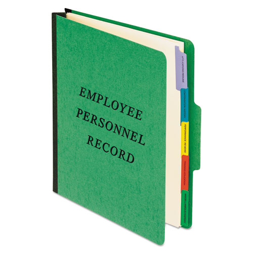 Vertical Style Personnel Folders, 1/3-Cut Tabs, Center Position, Letter Size, Green | by Plexsupply