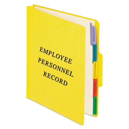 Vertical Style Personnel Folders, 1/3-Cut Tabs, Center Position, Letter Size, Yellow | by Plexsupply