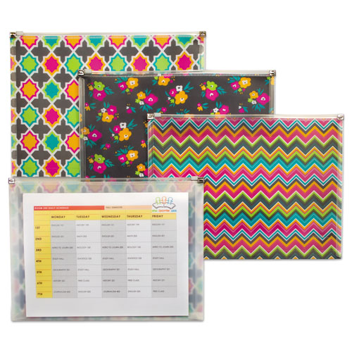 Fashion Zip N Go Reusable Envelope, 1 Section, 13.13 x 10, Assorted, 3/Pack