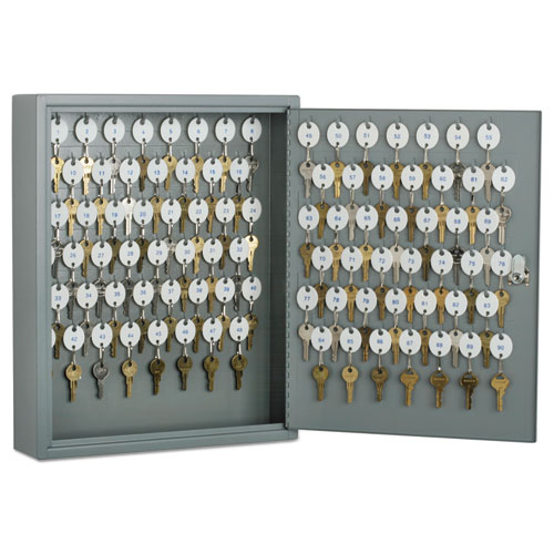 7125002853049 SKILCRAFT Locking Key Cabinet, 90, 14w x 3 1/4d x 17 1/4h, Gray