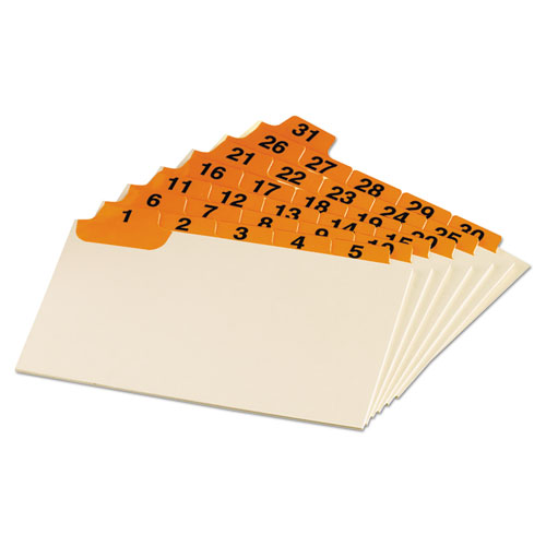 Laminated Index Card Guides, Daily, 1/5 Tab, Manila, 3 x 5, 31/Set | by Plexsupply